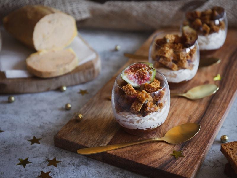 Verrine de foie gras au pain d'épices et confit de figue